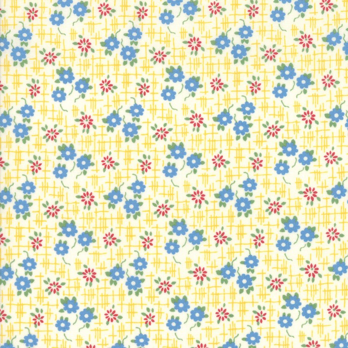 Moda Fabric Bubble Pop Grid Flowers Yellow
