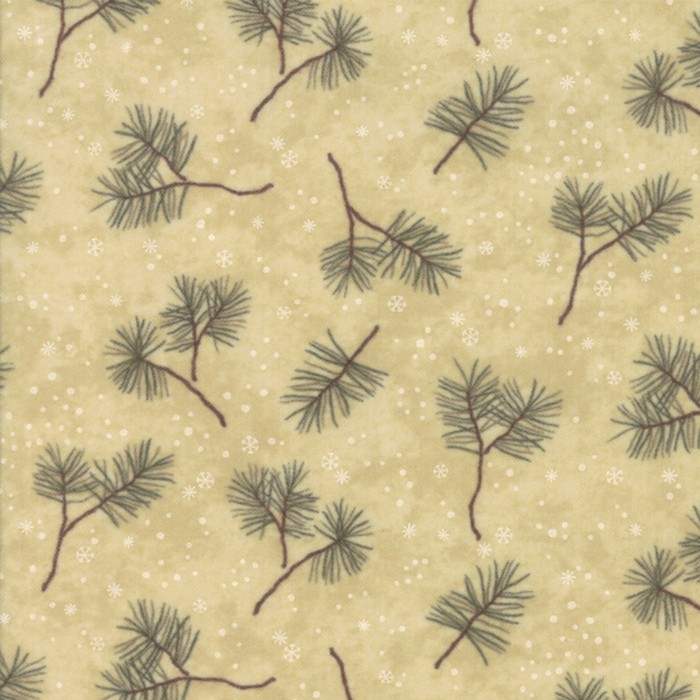 Large Image of Moda Fabric Frosted Flannel Sand Winter Greens