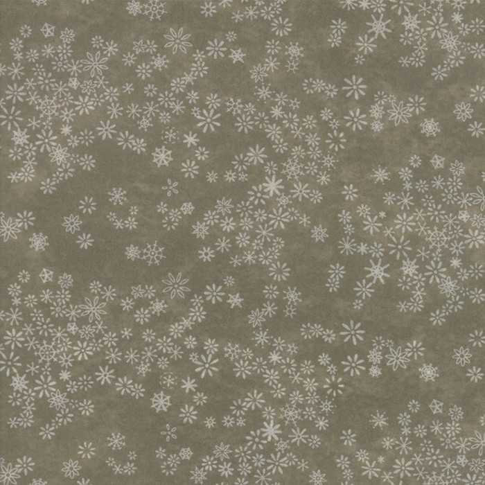 Large Image of Moda Fabric Frosted Flannel Moss Snowflakes
