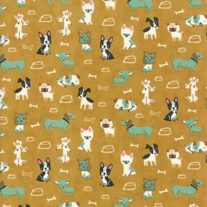 Moda Fabric Woof Woof Meow Small But Mighty Gold