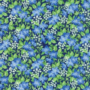 Small Image of Moda Fabric Summer Breeze V Vinca Navy