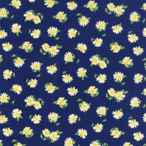 Small Image of Moda Fabric Summer Breeze V Daisies Navy