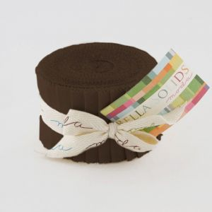 Large Image of Moda Fabric Bella Solids Junior Jelly Roll Brown