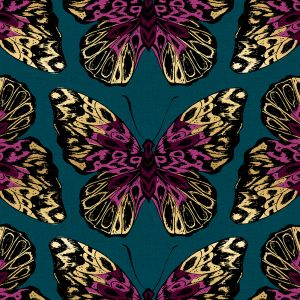 Ruby Star Tiger Fly Queen Canvas Teal Metallic